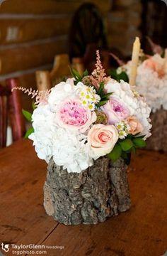 tree stump vase for rustic wedding decor