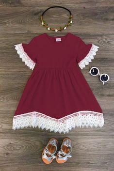 The Amanda Lace Dress - BURGUNDY