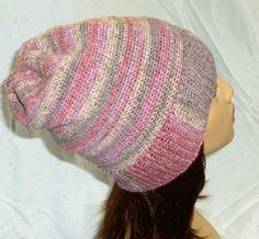 Crochet Slouch Hat, Slouchy Beanie, Stripe Slouchy, Slouch Hat, Winter Fashion - Rose and Taupe by berly731 on Etsy