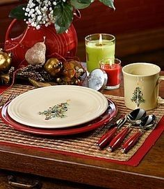 Bring the Christmas spirit to your holiday table with the Fiesta® Dinnerware Christmas tree design made by Homer Laughlin China Company | Everything Kitchens