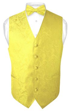 Men s Paisley Design Dress Vest   Bow Tie YELLOW Color BOWTie Set for Suit  Tux bc7f9c5d0f5de