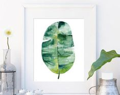 Botanical Print Set Large Printable Watercolor Illustration | Etsy Leaf Wall Art, Leaf Art, Large Art Prints, Leaf Prints, Botanical Wall Art, Botanical Prints, Watercolor Plants, Plant Wall, Modern Wall Art