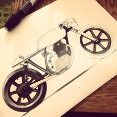 Mouse broke. Marker it is #autofabrica #yamaha #sr500 #caferacer #sketch