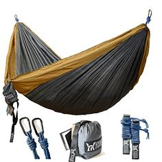 "Winner Outfitters Double Camping Hammock - Lightweight Nylon Portable Hammock, Best Parachute Double Hammock For Backpacking, Camping, Travel, Beach, Yard. 118""(L) x 78""(W). For product info go to:  https://all4hiking.com/products/winner-outfitters-double-camping-hammock-lightweight-nylon-portable-hammock-best-parachute-double-hammock-for-backpacking-camping-travel-beach-yard-118l-x-78w/"