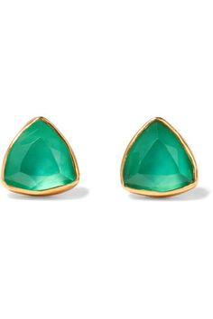 Katerina Makriyianni - Gold-plated, Quartz And Agate Earrings - Green - one size