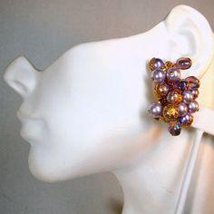 Lavender Purple Aurora and Gold Clip Earrings Dangling Grape