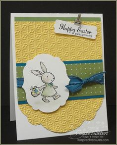 I stamped Miss Bunny with Black Stazon, then watercolored with my AquaPainter and Stampin' Write Markers.  I did add a little Crumb Cake color for the bunny…she couldn't be yellow or green or blue, now could she?