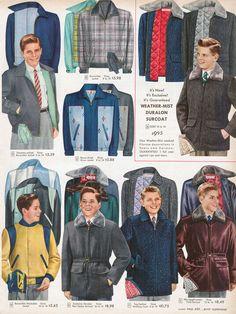 PDF Sears Catalog 17 pages Men, Boys and Girls 1950s Fashion Menswear, Gents Fashion, Boy Fashion, Retro Fashion, Vintage Fashion, Fashion Ideas, 1950s Style, Moda Vintage, Vintage Mode
