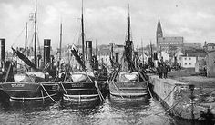Old photograph of herring fishing boats in the harbour in Anstrutherm East Neuk of Fife, Scotland