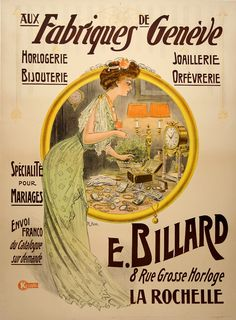 Original vintage poster from 1922 advertising jeweler Fabriques de Geneve. The poster announces it specializes in bridal registry and uses a gold wedding band to encompass its illustration.