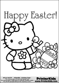 here are three more very cute and pretty hello kitty coloring ... - Coloring Pages Kitty Easter