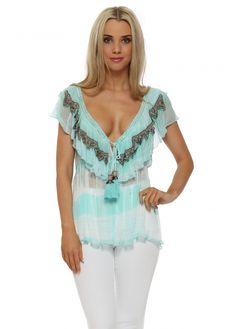 4a29d93a93fce Aqua Tie Dye Stripe Jewelled Sleeveless Top Beach Covers, Kaftan, Tie Dye,  Beachwear