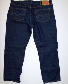 Mens LEVI'S 501 Button Fly Jeans Dark Wash Tagged 42x32 Actual 40X29 Levis Levi #Levis #ButtonFly