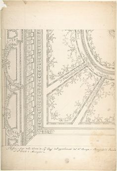 Clean Copy Presentation Draft: One Quarter of a Design for a Ceiling of a Room (recto); Scales and Construction Lines for Another Design (verso)