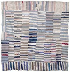 Early 20th century strippy Bars quilt top from back east