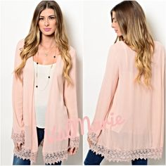 """Lace Hem Blush Kimono This lightweight & elegant blush/Rose Quartz kimono is perfect for the transition from Winter to Spring as being Pantones fashion color of the year! Step into elegance & wear this kimono to dress up an outfit or lounge in luxury. Model wearing size S & measurements of small are: L: 32"""" B: 43"""" W: 43. Comes in S (2-4) M (6-8) and L (10-12) does run very slightly big and flowy. That's the look they made these for. Consider size down for a fitted look. 100% Rayon. Sleeves…"""