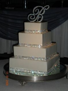 Modern Wedding cake with Crystal cake topper and Bling cake bands
