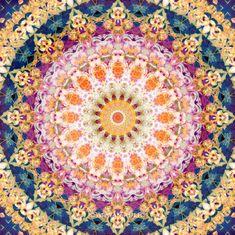 "Fine Art Print Flower Mandala 16"" x 16"" - wall art blossom symmetric colorful meditation zen ornament"