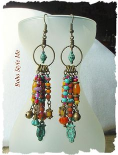 Boho Colorful Fun Earrings Bohemian Jewelry Patina Owl