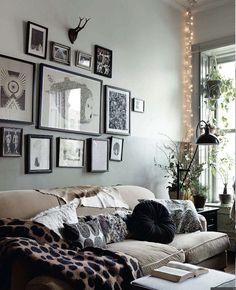 frame, string lights, twinkle lights living room