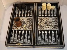 Handmade Vintage Mother Of Pearl Inlay Backgammon Set And Chess Board