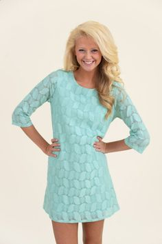 EVERLY: Sea Island Easter Lace Shift Tunic-Mint - Whats New | The Red Dress Boutique