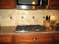 kitchen backsplash tile with dark cabinets - Google Search