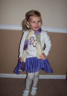 Cream and Purple Striped Scarf for Child.  My baby girl posed for this!  She rocked it :)