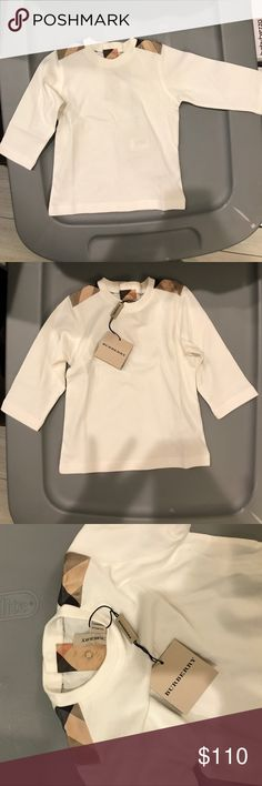 Burberry shirt 6 months BRAND NEW WITH TAGS Classic signature Burberry shirt with logo on shoulders 6 months Burberry Shirts & Tops Tees - Long Sleeve
