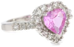 10k White Gold Heart-Shaped Created Pink Sapphire and Round Created White Sapphire Heart Ring « My Brilliant Bauble