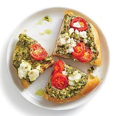 Pesto Biscuit Pizza | These delectable pizzas are a breeze. Make them as a snack anytime of the day.