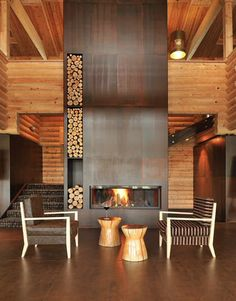 Rust metal series tile on Fireplace  http://www.olympiatile.com/product/series/737/rust_metal_series