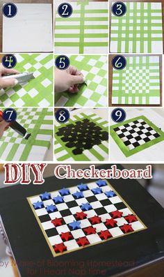 DIY Checker board game on iheartnaptime.com -fun idea for the 4th!