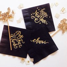 Gold Foiled Pop Fizz Clink Napkins by LHCalligraphy on Etsy