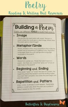 Building a Poem Writing Notebook Anchor Chart, Reading and Writing the Language of Poetry Unit Resources, Notebook Charts, Large Anchor Charts/Slides for Teaching, Revision Checklists, Rubric: