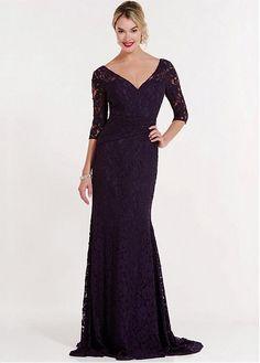 Buy discount Graceful Lace V-neck Neckline 3/4 Length Sleeves Floor-length Mermaid Mother Of The Bride Dresses at Dressilyme.com