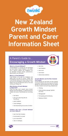 New Zealand Growth Mindset Parent and Carer Information Sheet Fixed Mindset, Growth Mindset, New Zealand, Curriculum, Encouragement, Parents, Key, Learning, Resume
