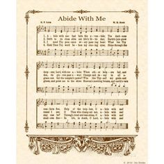ABIDE WITH Me --- 8 x 10 Antique Hymn Art Print on Natural Parchment in Sepia…