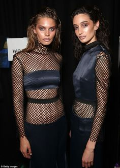 Eighties revival: Fishnets were brought back into fashion in the new Phoenix Keating collection