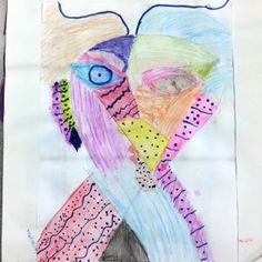 A colorful and creative art journal page by a 4th grade artist at my Ontario school.