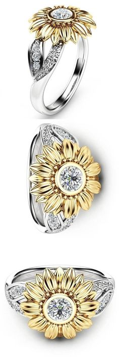 This charming and elegant ring features a beautiful sunflower with lovely crystals.It is crafted from high quality Alloy with Gold and Silver plating and set with Zirconia crystals.The sunflower symbolizes long life, good luck and is considered . Ring Set, Ring Verlobung, Jewelry Rings, Jewelery, Jewellery Uk, Diy Rings, Sunflower Ring, Sunflower Jewelry, Ring Crafts