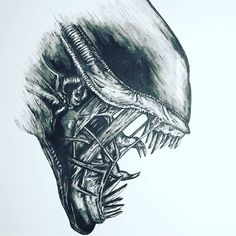 xeno draw By by luisnostromo Giger Alien, Hr Giger, Alien Vs Predator, Alien Tattoo Xenomorph, Predator Tattoo, Alien Drawings, Aliens Movie, Alien Art, Weird Creatures