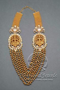 gold_beads_lakshmi_pendant_tibarumals Pendant Jewelry, Gold Jewelry, Jewelery, Fine Jewelry, Women Jewelry, Gold Bangles, India Jewelry, Temple Jewellery, Bead Jewellery
