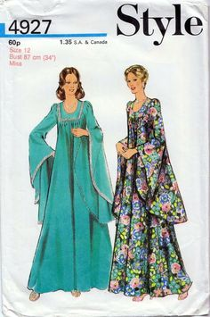 Style 4927 Womens Boho Goth Maxi Lined Caftan Dress with Godet Sleeves Vintage Sewing Pattern Size 12 Bust 34 inches UNCUT Factory Folded Dress Making Patterns, Vintage Dress Patterns, Clothing Patterns, Robes Vintage, Vintage Dresses, Vintage Outfits, 70s Fashion, Fashion History, Vintage Fashion