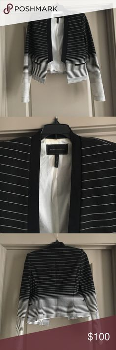 BCBG MAXAZRIA XS black to white ombré blazer. This is prefect for work or to dress up some jeans for some drinks with the girls!  Size XS.  The material isn't like your typical blazer it is so soft and so comfortable! BCBGMaxAzria Jackets & Coats Blazers
