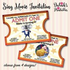 Sing Movie Invitation Sing Movie Invite Sing by DaliahsPrintables