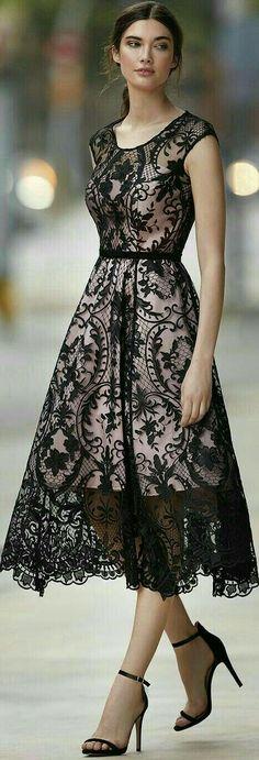 bd49aa85f Black Fancy Dress, Black Lace Dresses, Lovely Dresses, Elegant Dresses,  White Dress