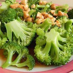 Broccoli with Garlic Butter and Cashews - Allrecipes.com #garlic #veggie #recipe