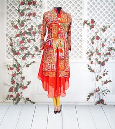 Printed Georgette jacket front kurti # FDNZ1001