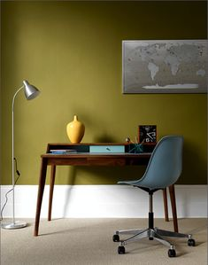 mid century - love the olive walls and simplified lines of the desk & chair. If I wish hard enough will my office look like this?